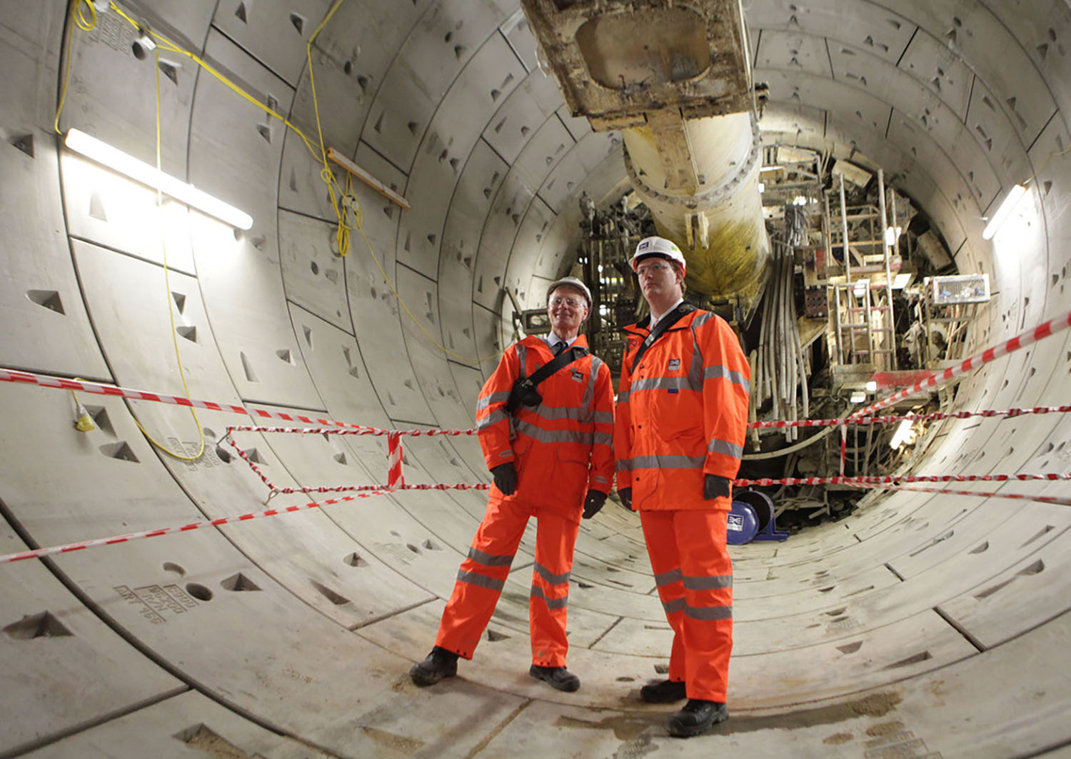 110476_chief secretary to the treasury danny alexander and commercial secretary to the treasury lord deighton given tour of first complete crossrail tunnel