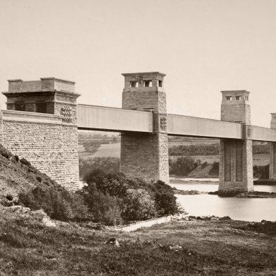 A very early photograph of Stephenson's Britannia Bridge across the Menai Strait, taken circa 1860. Photo: Wellcome Library, London