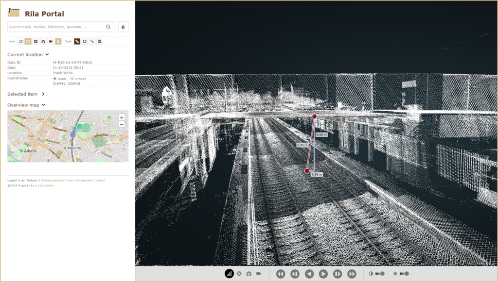 3D point cloud data collected using Fugro's RILA 360 can be viewed in RILA portal and used to analyse trackside assets and critical clearance measurements.