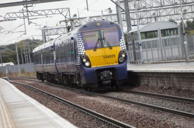 A ScotRail class 334 train arrives at Bathgate station. Credit: ScotRail Alliance.