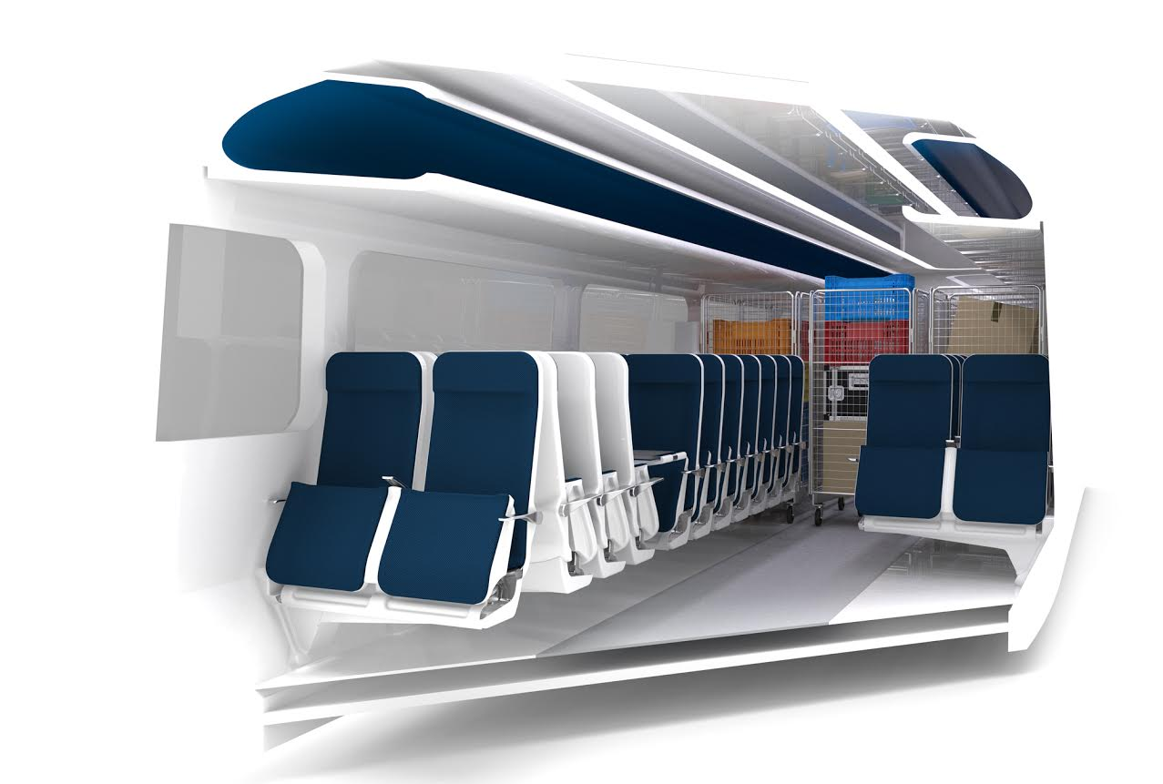 42 Technology's Adaptable Carriage system will allow TOC's to configure specific carriages to carry either passengers or high value cargo that would otherwise go by road. Credit: 42 Technology.