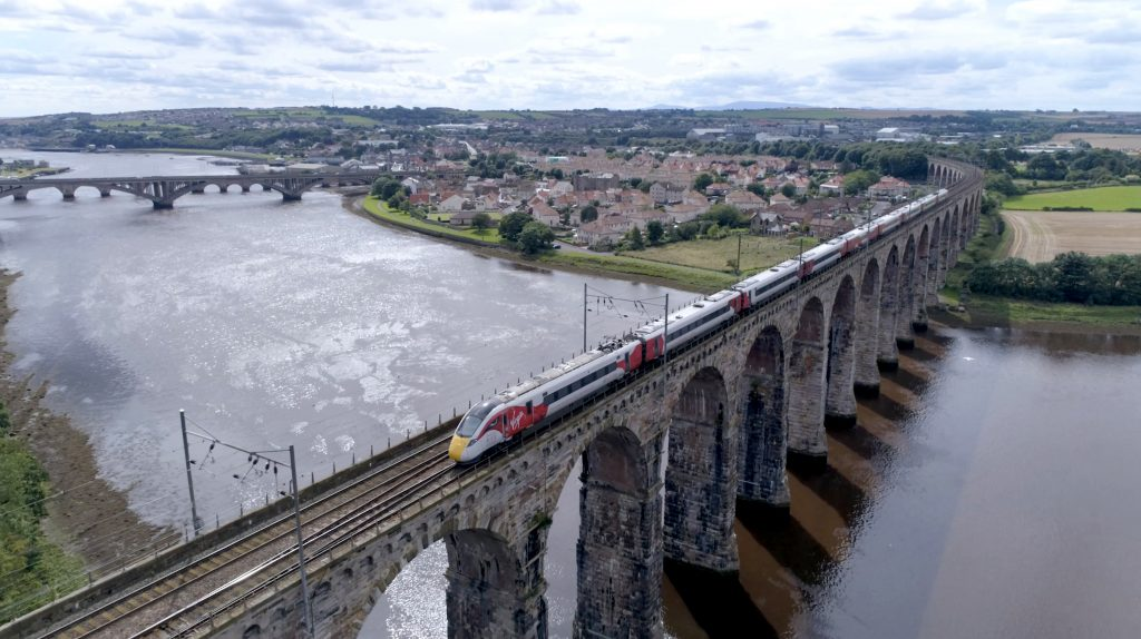 Virgin Class 800 crossing the Royal Border Bridge, Berwick-upon-Tweed.