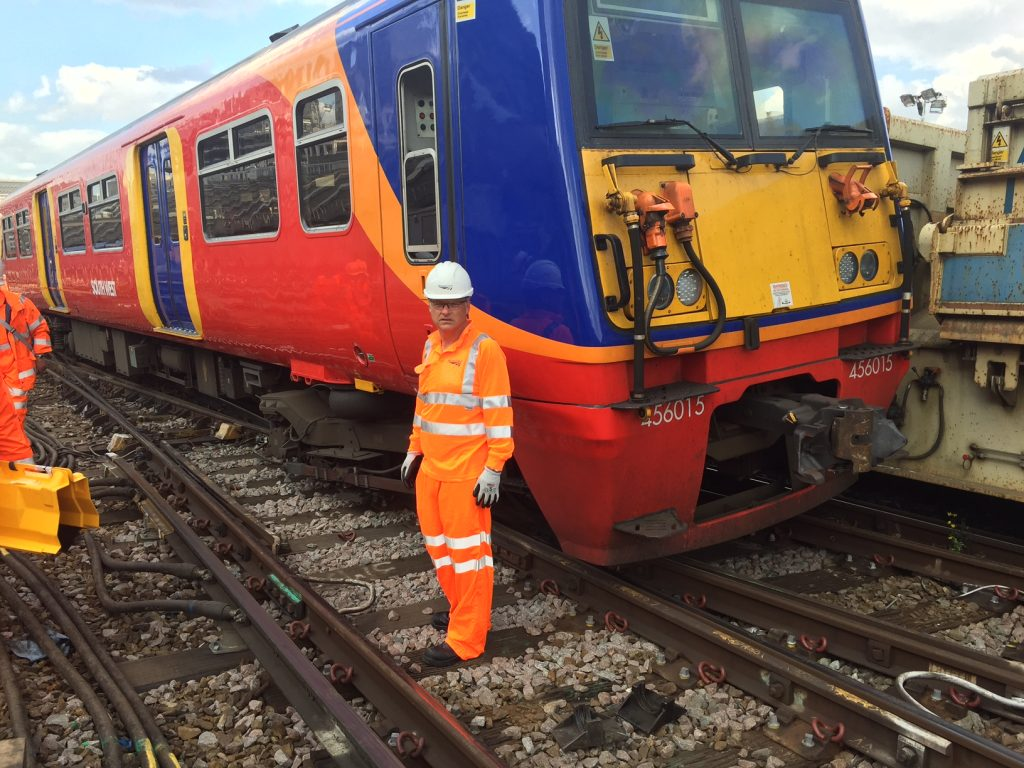 Network Rail CEO Mark Carne during a visit to the scene. Credit: Network Rail.