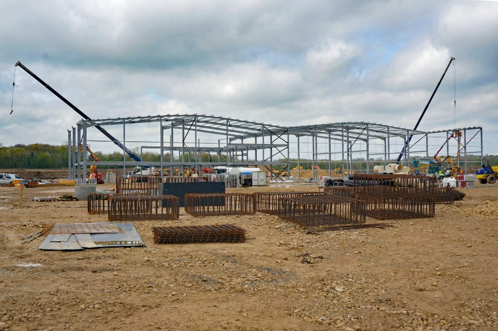 Hitachi's rail vehicle manufacturing facility under construction in April 2014.