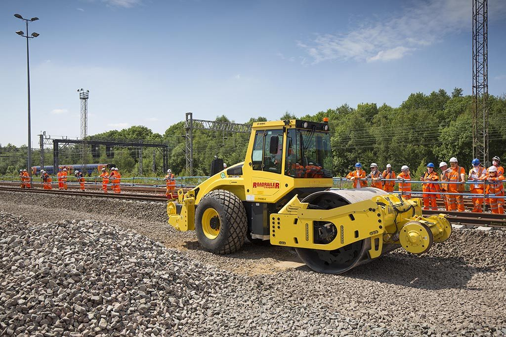 Network Rail, Network magazine 10/06/2015 BOMAG demonstration at Grange Sidings in Stoke-On-Trent, Staffordshire.