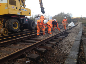 Ballast is replaced under tracks near to Smallbrook Junction [online]